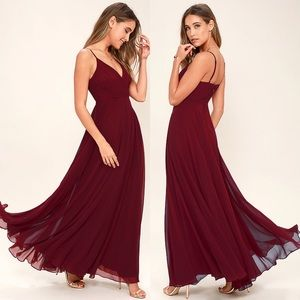NEW Lulus All About Love Maxi Dress Wine Burgundy